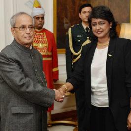 President Pranab with Mauritian President Ameenah Gurib-Fakim